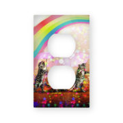 Cats in the Rainbow Stars - AC Outlet Wall Plate Cover