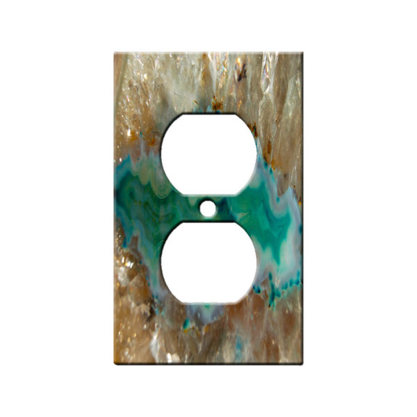 agate crystal turquoise - AC Outlet Wall Plate Cover