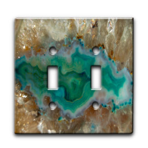 agate crystal turquoise - Dual Gang Switch Plate
