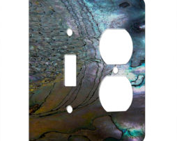 Abalone Metallic Shell - AC Outlet Combo Switch Plate 2 Gang Cover