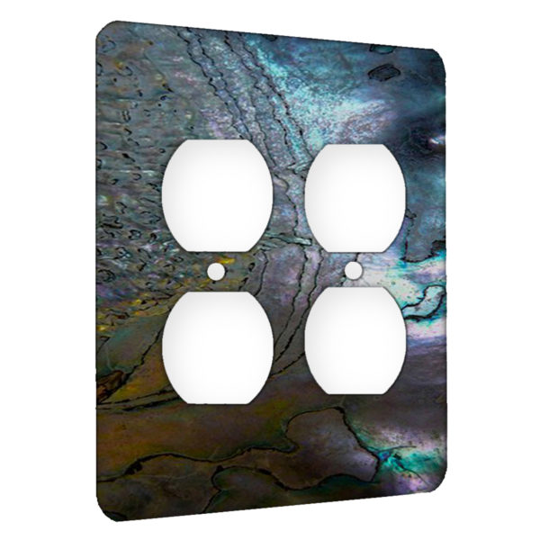 Abalone Metallic Shell - AC Outlet 2 Gang Wall Plate Cover