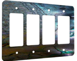 Abalone Metallic Shell - 4 Gang Decora Rocker Wall Plate Cover