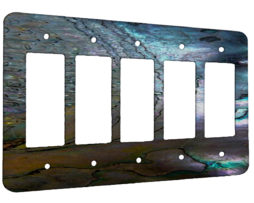 Abalone Metallic Shell - 5 Gang Decora Rocker Wall Plate Cover