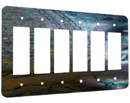 Abalone Metallic Shell - 6 Gang Decora Rocker Wall Plate Cover