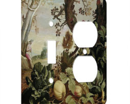 Abraham Bloemaert Garden Painting - AC Outlet Combo Switch Plate 2 Gang Cover