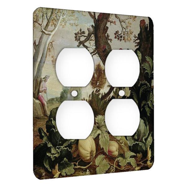 Abraham Bloemaert Garden Painting - AC Outlet 2 Gang Wall Plate Cover
