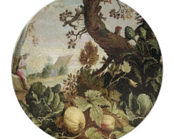 Abraham Bloemaert Garden Painting - Round Glass Cutting Board