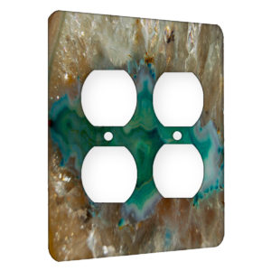 Agate Crystal Turquoise - AC Outlet 2 Gang Wall Plate Cover