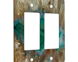 Agate Crystal Turquoise - 2 Gang Decora Rocker Wall Plate Cover