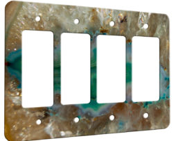 Agate Crystal Turquoise - 4 Gang Decora Rocker Wall Plate Cover