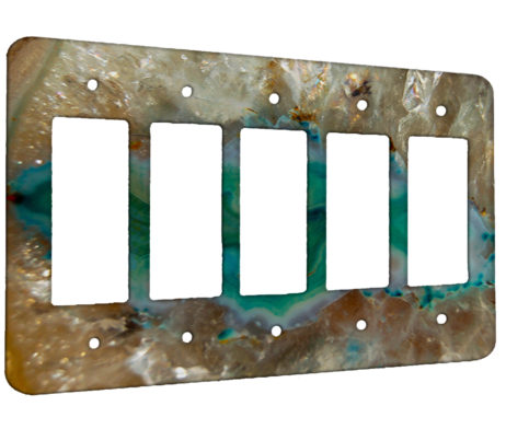 Agate Crystal Turquoise - 5 Gang Decora Rocker Wall Plate Cover