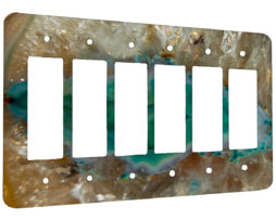 Agate Crystal Turquoise - 6 Gang Decora Rocker Wall Plate Cover