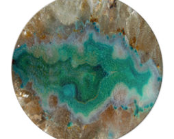 Agate Crystal Turquoise - Round Glass Cutting Board