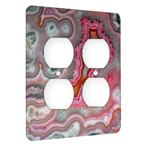 Agate Rose Quarts - AC Outlet 2 Gang Wall Plate Cover
