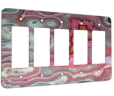Agate Rose Quarts - 5 Gang Decora Rocker Wall Plate Cover