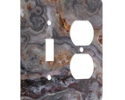 Agate Smokey Scape - AC Outlet Combo Switch Plate 2 Gang Cover