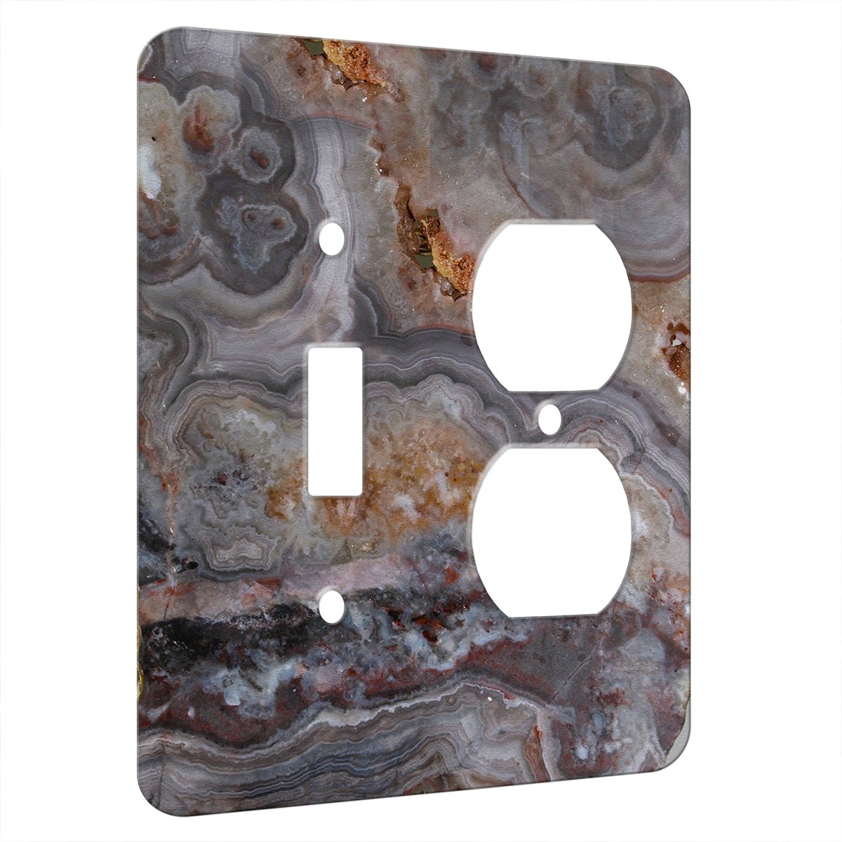 Agate Smokey Scape – AC Outlet Combo Switch Plate 2 Gang Cover ...