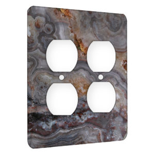 Agate Smokey Scape - AC Outlet 2 Gang Wall Plate Cover