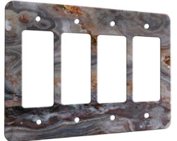 Agate Smokey Scape - 4 Gang Decora Rocker Wall Plate Cover