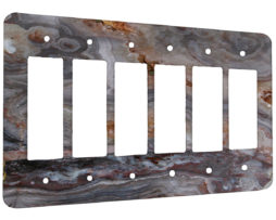 Agate Smokey Scape - 6 Gang Decora Rocker Wall Plate Cover