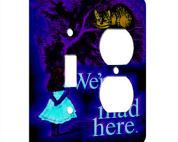 Alice in Wonderland Chesire Here - AC Outlet Combo Switch Plate 2 Gang Cover