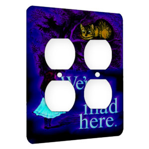 Alice in Wonderland Chesire Here - AC Outlet 2 Gang Wall Plate Cover