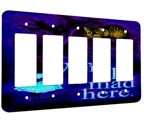 Alice in Wonderland Chesire Here - 5 Gang Decora Rocker Wall Plate Cover
