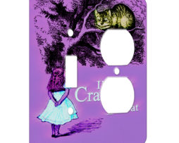 Alice in Wonderland Im Not Crazy - AC Outlet Combo Switch Plate 2 Gang Cover