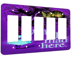 Alice in Wonderland Mad Chesire Quote - 5 Gang Decora Rocker Wall Plate Cover