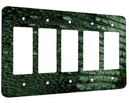 Alligator Tail  - 5 Gang Decora Rocker Wall Plate Cover