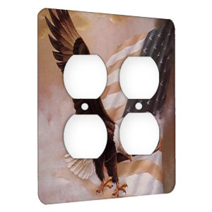 American Flag Eagle - AC Outlet 2 Gang Wall Plate Cover