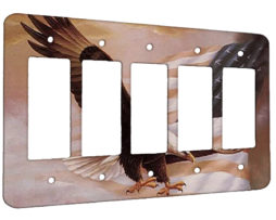 American Flag Eagle - 5 Gang Decora Rocker Wall Plate Cover