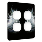 Angel Wings Feathery Flow - AC Outlet 2 Gang Wall Plate Cover