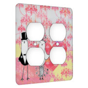 Bride And Groom Birdies Love - AC Outlet 2 Gang Wall Plate Cover