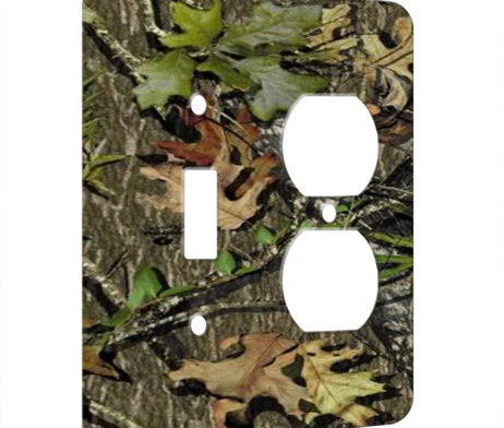 Camoflauge Leaves - AC Outlet Combo Switch Plate 2 Gang Cover