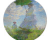 Claude Monet Woman With A Parasol - Round Glass Cutting Board