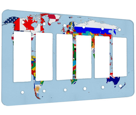 Flags of the World Map - 6 Gang Decora Rocker Wall Plate Cover