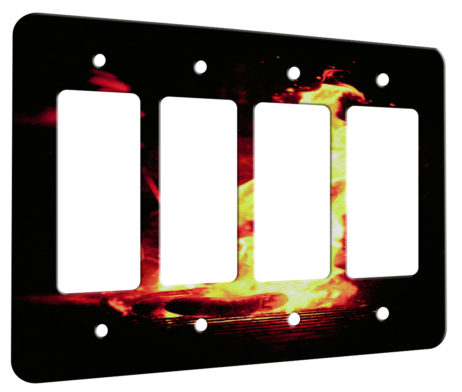 Flame Grilled - 4 Gang Decora Rocker Wall Plate Cover