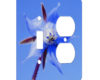 Flower Of Blue - AC Outlet Combo Switch Plate 2 Gang Cover