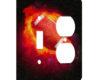 Football Fire - AC Outlet Combo Switch Plate 2 Gang Cover