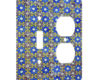 Italian Tile Floral Blue - AC Outlet Combo Switch Plate 2 Gang Cover