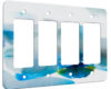 Orchid White and Turquoise - 4 Gang Decora Rocker Wall Plate Cover
