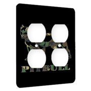 Pitbull Dog Camoflauge - AC Outlet 2 Gang Wall Plate Cover