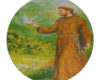 St Francis Animal Savior - Round Glass Cutting Board