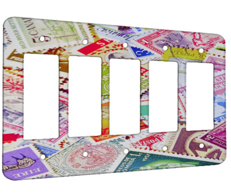 Stamp Collage - 5 Gang Decora Rocker Wall Plate Cover