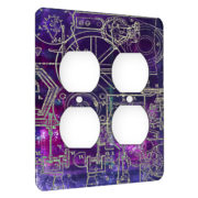 Steampunk Schematics Colorpop - AC Outlet 2 Gang Wall Plate Cover