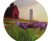 Steer At The Farm - Round Glass Cutting Board