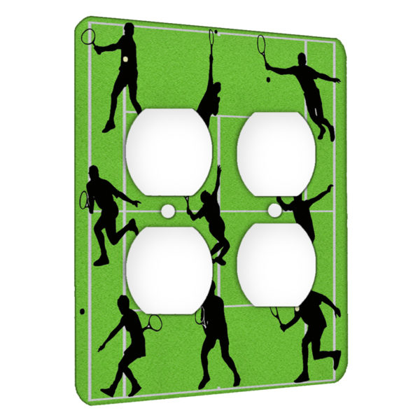 Tennis Strokes - AC Outlet 2 Gang Wall Plate Cover