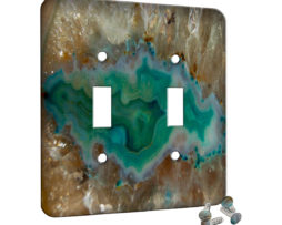 Agate Crystal Turquoise - 2 Gang Switch Plate