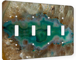 Agate Crystal Turquoise - 4 Gang Switch Plate